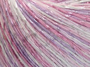 Fiber Content 70% Mercerised Cotton, 30% Viscose, White, Light Pink, Light Lilac, Brand Ice Yarns, Yarn Thickness 2 Fine Sport, Baby, fnt2-66000