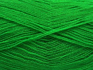 Very thin yarn. It is spinned as two threads. So you will knit as two threads. Yardage information is for only one strand. Fiber Content 100% Acrylic, Brand Ice Yarns, Green, Yarn Thickness 1 SuperFine Sock, Fingering, Baby, fnt2-66136