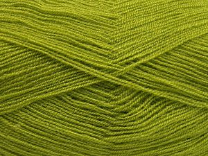 Very thin yarn. It is spinned as two threads. So you will knit as two threads. Yardage information is for only one strand. Fiber Content 100% Acrylic, Light Green, Brand Ice Yarns, Yarn Thickness 1 SuperFine Sock, Fingering, Baby, fnt2-66137