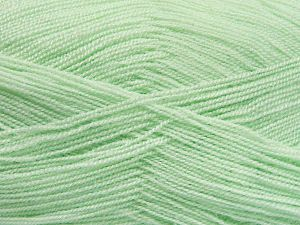 Very thin yarn. It is spinned as two threads. So you will knit as two threads. Yardage information is for only one strand. Fiber Content 100% Acrylic, Mint Green, Brand Ice Yarns, Yarn Thickness 1 SuperFine Sock, Fingering, Baby, fnt2-66140