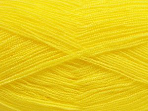 Very thin yarn. It is spinned as two threads. So you will knit as two threads. Yardage information is for only one strand. Fiber Content 100% Acrylic, Neon Yellow, Brand Ice Yarns, Yarn Thickness 1 SuperFine Sock, Fingering, Baby, fnt2-66146