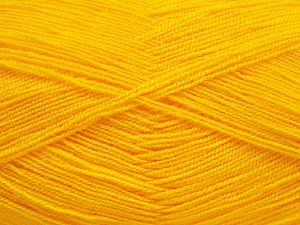 Very thin yarn. It is spinned as two threads. So you will knit as two threads. Yardage information is for only one strand. Fiber Content 100% Acrylic, Yellow, Brand Ice Yarns, Yarn Thickness 1 SuperFine Sock, Fingering, Baby, fnt2-66148