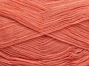 Very thin yarn. It is spinned as two threads. So you will knit as two threads. Yardage information is for only one strand. Fiber Content 100% Acrylic, Brand Ice Yarns, Dark Salmon, Yarn Thickness 1 SuperFine Sock, Fingering, Baby, fnt2-66151