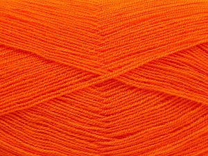 Very thin yarn. It is spinned as two threads. So you will knit as two threads. Yardage information is for only one strand. Fiber Content 100% Acrylic, Orange, Brand Ice Yarns, Yarn Thickness 1 SuperFine Sock, Fingering, Baby, fnt2-66157