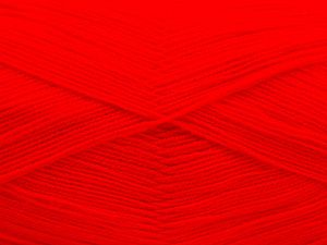 Very thin yarn. It is spinned as two threads. So you will knit as two threads. Yardage information is for only one strand. Fiber Content 100% Acrylic, Neon Red, Brand Ice Yarns, Yarn Thickness 1 SuperFine Sock, Fingering, Baby, fnt2-66158