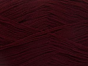 Very thin yarn. It is spinned as two threads. So you will knit as two threads. Yardage information is for only one strand. Fiber Content 100% Acrylic, Brand Ice Yarns, Dark Maroon, Yarn Thickness 1 SuperFine Sock, Fingering, Baby, fnt2-66160