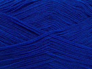 Very thin yarn. It is spinned as two threads. So you will knit as two threads. Yardage information is for only one strand. Fiber Content 100% Acrylic, Brand Ice Yarns, Dark Blue, Yarn Thickness 1 SuperFine Sock, Fingering, Baby, fnt2-66179