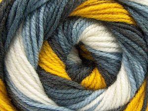 Fiber Content 100% Acrylic, Yellow, White, Brand Ice Yarns, Grey Shades, Yarn Thickness 3 Light DK, Light, Worsted, fnt2-66545
