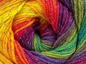 Fiber Content 95% Acrylic, 5% Lurex, Rainbow, Brand Ice Yarns, Yarn Thickness 3 Light DK, Light, Worsted, fnt2-66548