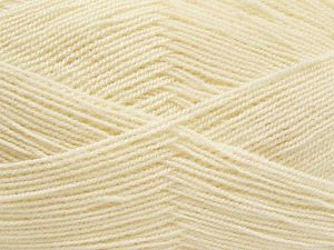 Very thin yarn. It is spinned as two threads. So you will knit as two threads. Yardage information is for only one strand. Fiber Content 100% Acrylic, Light Cream, Brand Ice Yarns, Yarn Thickness 1 SuperFine Sock, Fingering, Baby, fnt2-66551