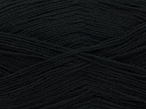 Very thin yarn. It is spinned as two threads. So you will knit as two threads. Yardage information is for only one strand. Fiber Content 100% Acrylic, Brand Ice Yarns, Black, Yarn Thickness 1 SuperFine Sock, Fingering, Baby, fnt2-67044