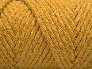 Fiber Content 100% Cotton, Brand Ice Yarns, Dark Yellow, Yarn Thickness 6 SuperBulky Bulky, Roving, fnt2-67054
