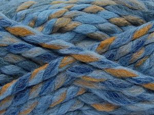 Contenido de fibra 75% Acrílico, 25% Lana, White, Brand Ice Yarns, Camel, Blue Shades, Yarn Thickness 6 SuperBulky Bulky, Roving, fnt2-67158