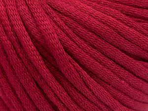 This is a tube-like yarn with soft cotton fleece filled inside. Fiber Content 70% Cotton, 30% Polyester, Brand Ice Yarns, Burgundy, Yarn Thickness 5 Bulky Chunky, Craft, Rug, fnt2-67308