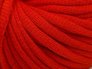 This is a tube-like yarn with soft cotton fleece filled inside. Fiber Content 70% Cotton, 30% Polyester, Orange, Brand Ice Yarns, Yarn Thickness 5 Bulky Chunky, Craft, Rug, fnt2-67309