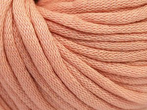 This is a tube-like yarn with soft cotton fleece filled inside. Fiber Content 70% Cotton, 30% Polyester, Light Pink, Brand Ice Yarns, Yarn Thickness 5 Bulky Chunky, Craft, Rug, fnt2-67311