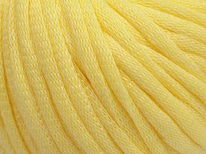 This is a tube-like yarn with soft cotton fleece filled inside. Fiber Content 70% Cotton, 30% Polyester, Light Yellow, Brand Ice Yarns, Yarn Thickness 5 Bulky Chunky, Craft, Rug, fnt2-67316