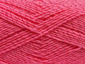 Gauge is 22 stitches and 30 rows on 10 cm x 10 cm (4& x 4&). Vezelgehalte 97% Acryl, 3% Metallic lurex, Pink, Brand Ice Yarns, fnt2-67615