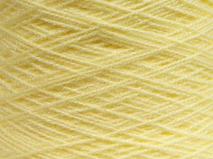 It is in Cone. Cold Rinse. Short spin. Do not wring. Cool iron under dry cloth. Cool tumble dry. Dry cleanable. Do not bleach Fiber Content 100% Acrylic, Light Yellow, Brand Ice Yarns, fnt2-67627