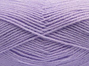 Cold Rinse. Short spin. Do not wring. Do not iron. Dry cleanable. Do not bleach. Fiber Content 55% Acrylic, 45% Nylon, Light Lilac, Brand Ice Yarns, fnt2-67653