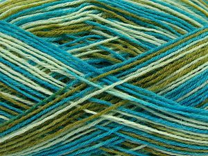 Fiber Content 75% Superwash Wool, 25% Polyamide, Turquoise, Brand Ice Yarns, Green Shades, fnt2-67785