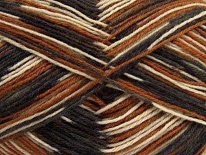 Fiber Content 75% Superwash Wool, 25% Polyamide, Brand Ice Yarns, Cream, Brown Shades, Black, fnt2-67805