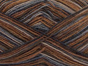 Fiber Content 75% Superwash Wool, 25% Polyamide, Light Grey, Brand Ice Yarns, Brown, Beige, fnt2-67806