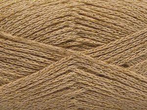 Fiber Content 88% Cotton, 12% Metallic Lurex, Brand Ice Yarns, Dark Cream, fnt2-67830