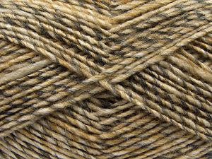 Fiber Content 9% Viscose, 62% Acrylic, 19% Alpaca, 10% Wool, Brand Ice Yarns, Grey, Gold, Cream, fnt2-67986