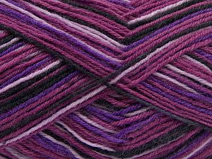 Fiber Content 75% Superwash Wool, 25% Polyamide, Purple Shades, Pink, Brand Ice Yarns, Black, fnt2-68185