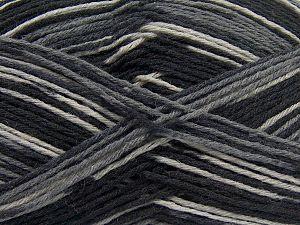 Fiber Content 75% Superwash Wool, 25% Polyamide, Brand Ice Yarns, Grey Shades, Black, fnt2-68198