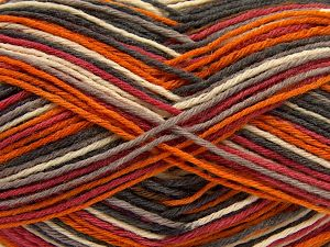 Fiber Content 75% Superwash Wool, 25% Polyamide, Red, Orange, Brand Ice Yarns, Grey Shades, Cream, fnt2-68201