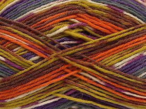 Fiber Content 75% Superwash Wool, 25% Polyamide, Orange, Olive Green, Lilac, Brand Ice Yarns, Grey, Brown, fnt2-68202