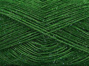 Fiber Content 60% Polyester, 40% Metallic Lurex, Brand Ice Yarns, Green, Yarn Thickness 3 Light DK, Light, Worsted, fnt2-68261