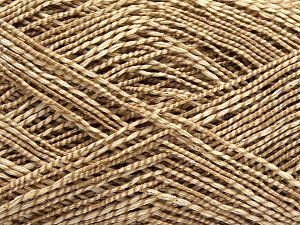 Fiber Content 50% Cotton, 38% Nylon, 12% Metallic Lurex, Light Camel, Brand Ice Yarns, Cream, fnt2-68404