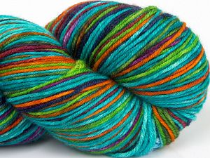 Please note that this is a hand-dyed yarn. Colors in different lots may vary because of the charateristics of the yarn. Also see the package photos for the colorway in full; as skein photos may not show all colors. Fiber Content 75% Superwash Merino Wool, 25% Polyamide, Turquoise Shades, Purple, Brand Ice Yarns, Green, Gold, fnt2-68866