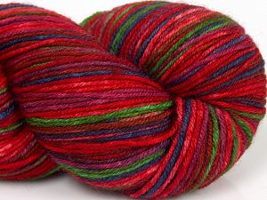 Please note that this is a hand-dyed yarn. Colors in different lots may vary because of the charateristics of the yarn. Also see the package photos for the colorway in full; as skein photos may not show all colors. Fiber Content 75% Superwash Merino Wool, 25% Polyamide, Red Shades, Purple, Brand Ice Yarns, Green, fnt2-68867