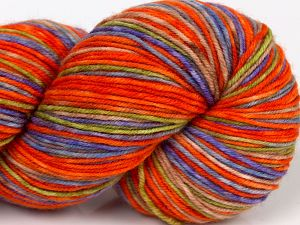 Please note that this is a hand-dyed yarn. Colors in different lots may vary because of the charateristics of the yarn. Also see the package photos for the colorway in full; as skein photos may not show all colors. İçerik 75% Superwash Merino Wool, 25% Polyamid, Orange Shades, Lilac, Brand Ice Yarns, Green, Camel, Blue, fnt2-68868
