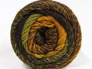 Fiber Content 55% Acrylic, 25% Wool, 20% Alpaca, Brand Ice Yarns, Green Shades, Gold, Dark Brown, fnt2-68913
