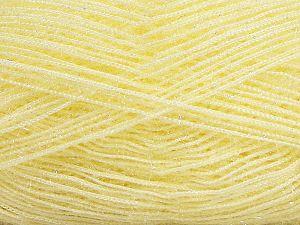 Fiber Content 60% Polyester, 40% Metallic Lurex, Light Yellow, Brand Ice Yarns, fnt2-68930