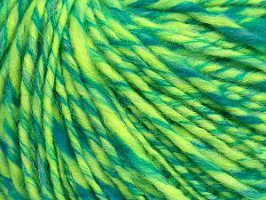Fiber Content 50% Wool, 30% Acrylic, 20% Alpaca, Turquoise, Neon Green, Brand Ice Yarns, fnt2-68942