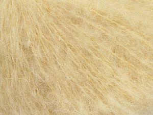 Fiber Content 41% Kid Mohair, 41% Alpaca Superfine, 2% Elastan, 16% Nylon, Brand Ice Yarns, Cream, fnt2-68982