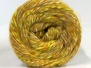 Fiber Content 50% Wool, 30% Acrylic, 20% Alpaca, Neon Green, Brand Ice Yarns, Gold, Cream, fnt2-69292