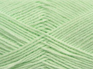 Cold Rinse. Short spin. Do not wring. Do not iron. Dry cleanable. Do not bleach. Fiber Content 50% Acrylic, 50% Polyamide, Light Mint Green, Brand Ice Yarns, fnt2-69550