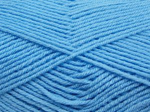 Cold Rinse. Short spin. Do not wring. Do not iron. Dry cleanable. Do not bleach. Fiber Content 50% Acrylic, 50% Polyamide, Light Blue, Brand Ice Yarns, fnt2-69553