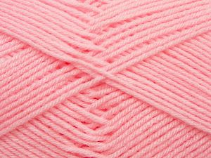 Cold Rinse. Short spin. Do not wring. Do not iron. Dry cleanable. Do not bleach. Fiber Content 50% Acrylic, 50% Polyamide, Light Pink, Brand Ice Yarns, fnt2-69557
