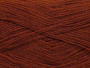 Very thin yarn. It is spinned as two threads. So you will knit as two threads. Yardage information is for only one strand. Fiber Content 100% Acrylic, Brand Ice Yarns, Brown, fnt2-69563