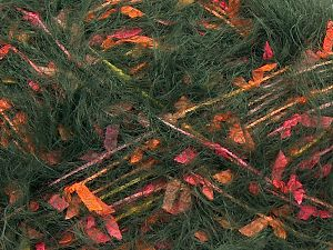 Fiber Content 50% Polyester, 50% Polyamide, Yellow, Pink, Orange, Brand Ice Yarns, Dark Green, fnt2-70248