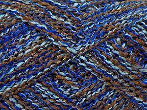 Fiber Content 90% Acrylic, 10% Nylon, Brand Ice Yarns, Brown, Blue Shades, fnt2-70273