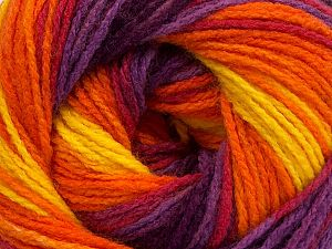 Fiber Content 100% Acrylic, Yellow, Purple Shades, Orange, Brand Ice Yarns, fnt2-70348